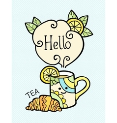 Card with doodle cup of tea and text Hello vector image