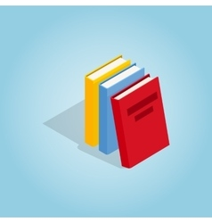 Three books icon isometric 3d style vector
