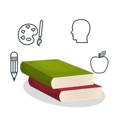 Textbooks and educational helpful isolated icon vector