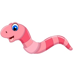 Cute worm cartoon smiling vector