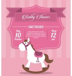 Baby shower design horse icon pink vector