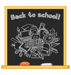 Back to school background with hand drawn icons on vector image