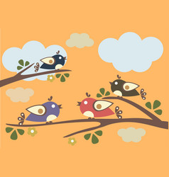 birds sitting on tree branches vector image