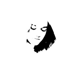 black and white portrait of young girl vector image