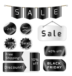Black friday sale tags isolated On White vector image vector image