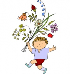 boy with flowers vector image vector image