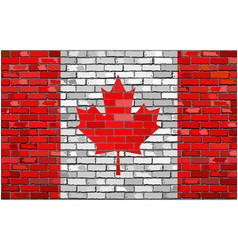 Canadian flag on brick wall vector