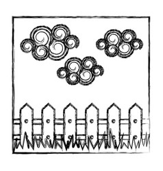 Contour wood grid with cloud and grass icon vector