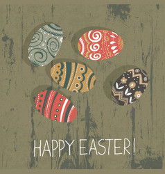 Easter eggs on wooden board happy easter vector