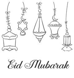 Eid mubarak card with lantern vector