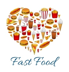 Fast food snacks in heart shape vector image vector image