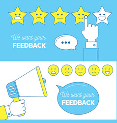 Feedback emoticon scale banners vector