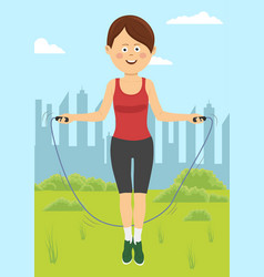 fit young woman jumps with rope in park vector image vector image