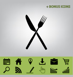 Fork and knife sign black icon at gray vector