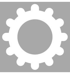 Gear flat white color icon vector