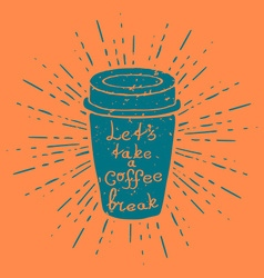 Hand drawn coffee cup with vintage sun burst vector