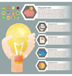 hand hold bulb polygon infographic for financial vector image vector image