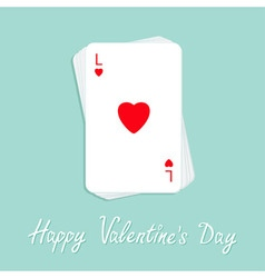 Happy Valentines Day Poker playing card stack with vector image vector image