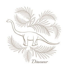 huge herbivorous dinosaur surrounded with palm vector image vector image