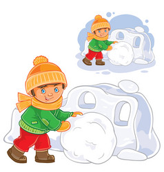 Little boy making snow fort vector