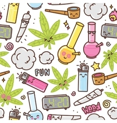 Marijuana kawaii cartoon seamless pattern vector image