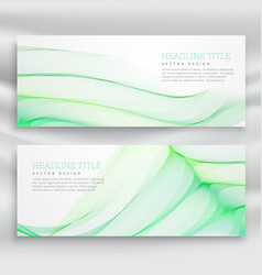 Set of banners with wavy green design template vector
