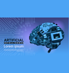 shape of modern brain cyborg mechanism over vector image