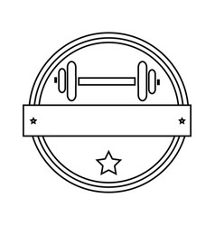 Silhouette circular border with dumbbell for vector