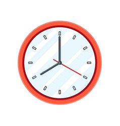 simple classic red round wall clock vector image