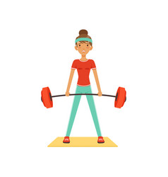 Sportive young woman character lifting barbell vector