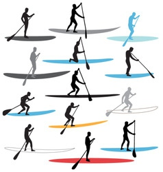 stand up paddle boarding sup vector image vector image