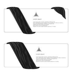 Two elegant horizontal white banner with black vector