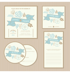 Wedding vintage invitation cards vector
