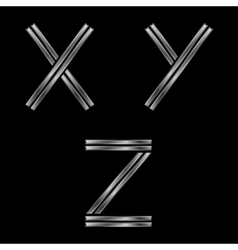 XYZ silver letters vector image vector image