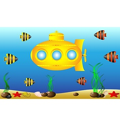 yellow submarine under water vector image