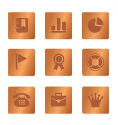 04 copper square office icons vector image vector image