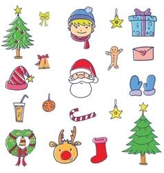 element christmas set doodle vector image