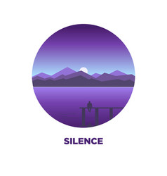 Night silence round logo icon isolated on white vector