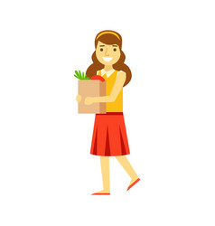 smiling young woman carrying a brown shopping bag vector image