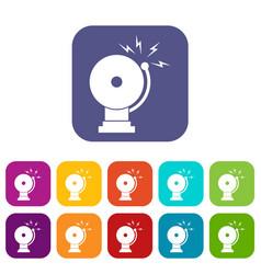 Fire alarm icons set vector