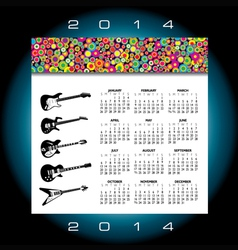 2014 music guitar calendar vector