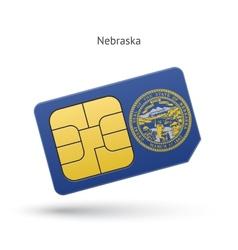 State of nebraska phone sim card with flag vector