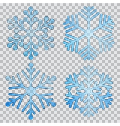 Set of transparent snowflakes vector image