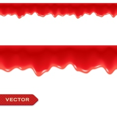Red drips seamless border strawberry or vector
