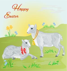 Easter lamb and sheep and daffodil vector