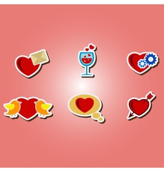 Color icons with symbols of valentines day vector