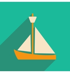 Flat with shadow icon and mobile applacation yacht vector