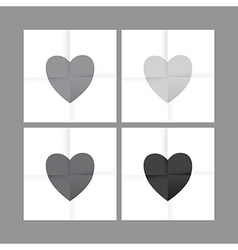 Black and white heart set vector
