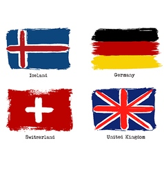 European grunge flags Flags of Germany Iceland vector image