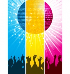 Divided disco ball and crowd vector
